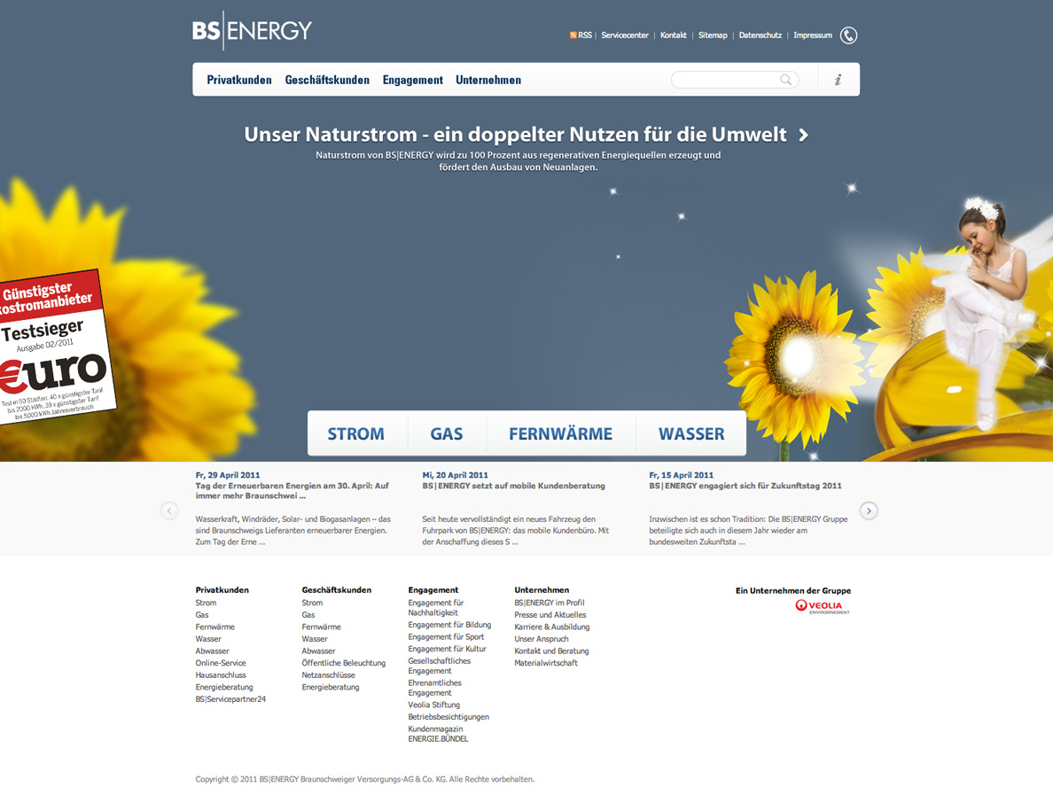 Screenshot der Startseite von der neuen Internetpräsenz des Braunschweiger Energieversorgungsunternehmens BS|ENERGY