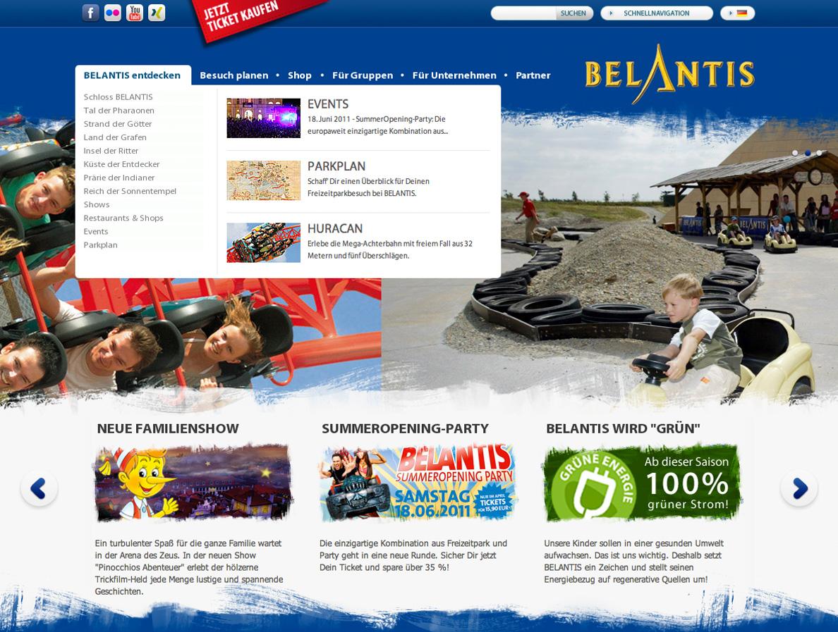 Screenshot von der Menüführung auf der Belantis Website