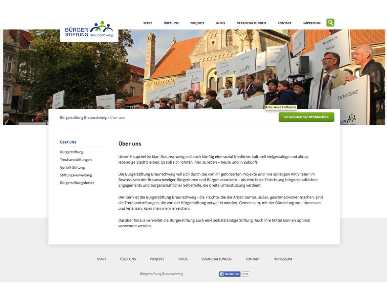 Screenshot einer Unterseite des Internetauftritts der Bürgerstiftung Braunschweig