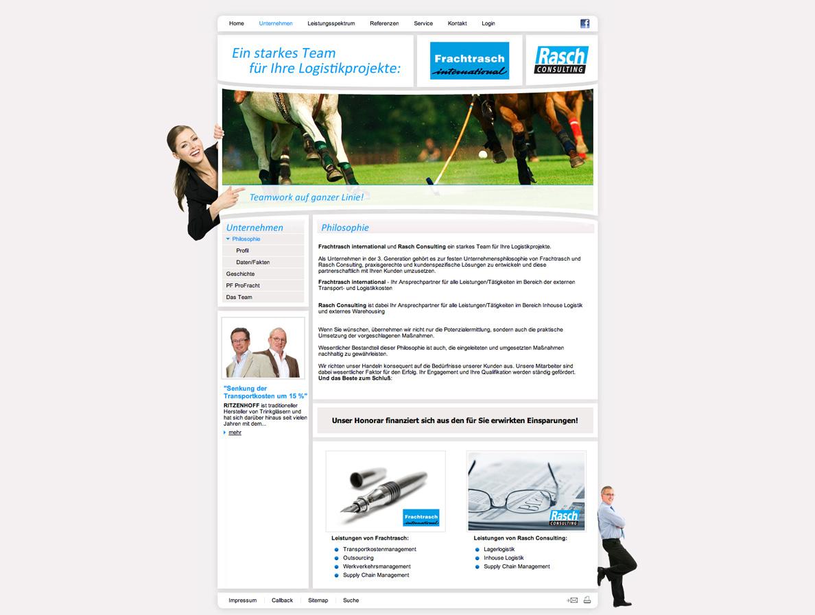 Scrrenshot einer Unterseite vom neuen Frauchtfrasch Internetauftritt