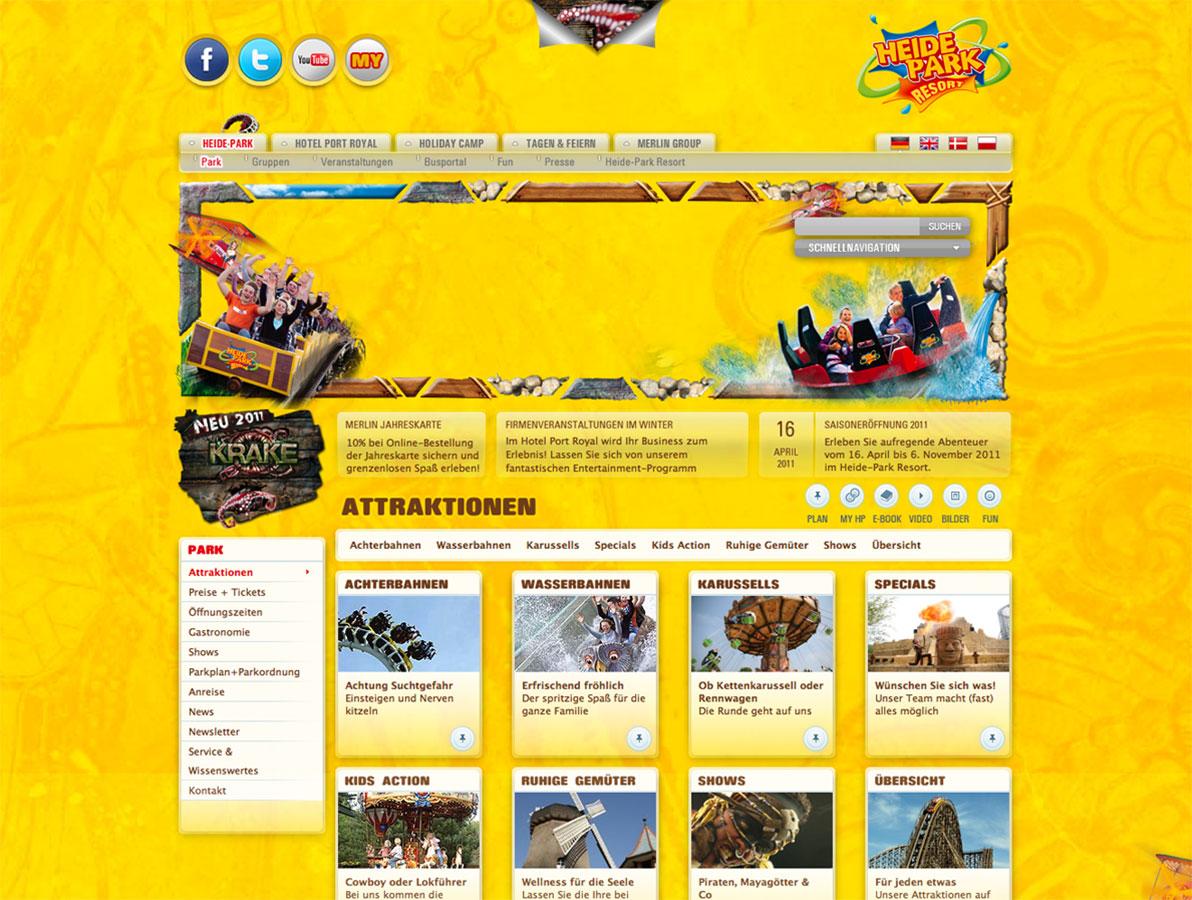 Screenshot einer Unterseite der überarbeiteten Heide Park Resort Internetpräsenz
