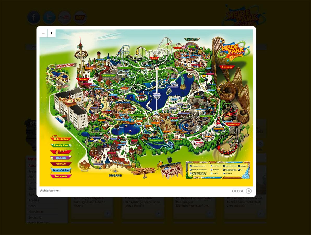 Screenshot einer auf der überarbeiteten Heide Park Resort Internetpräsenz befindlichen Übersichtskarte