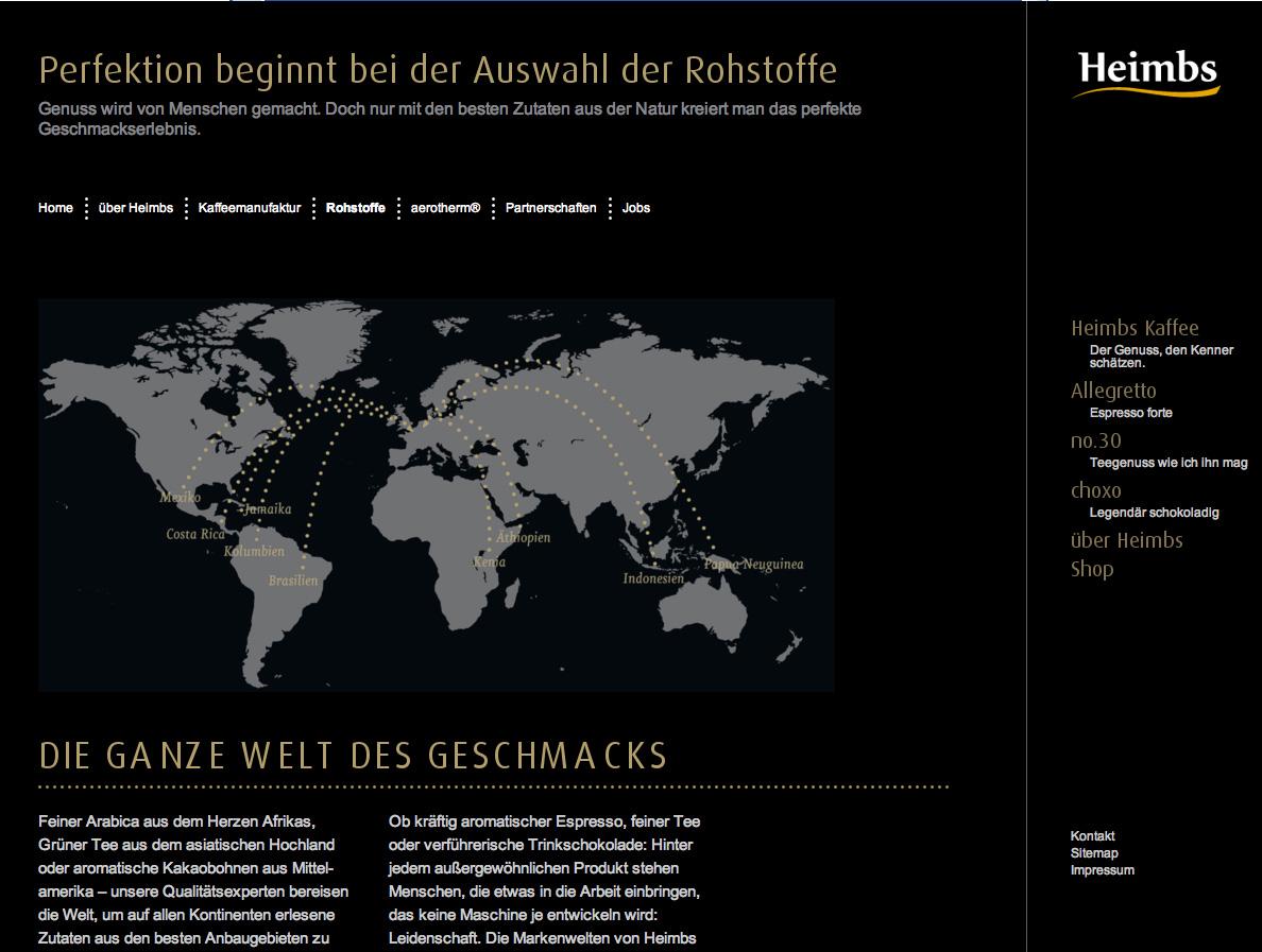 Screenshot einer Unterseite vom Braunschweiger Kaffeespezialisten Heimbs