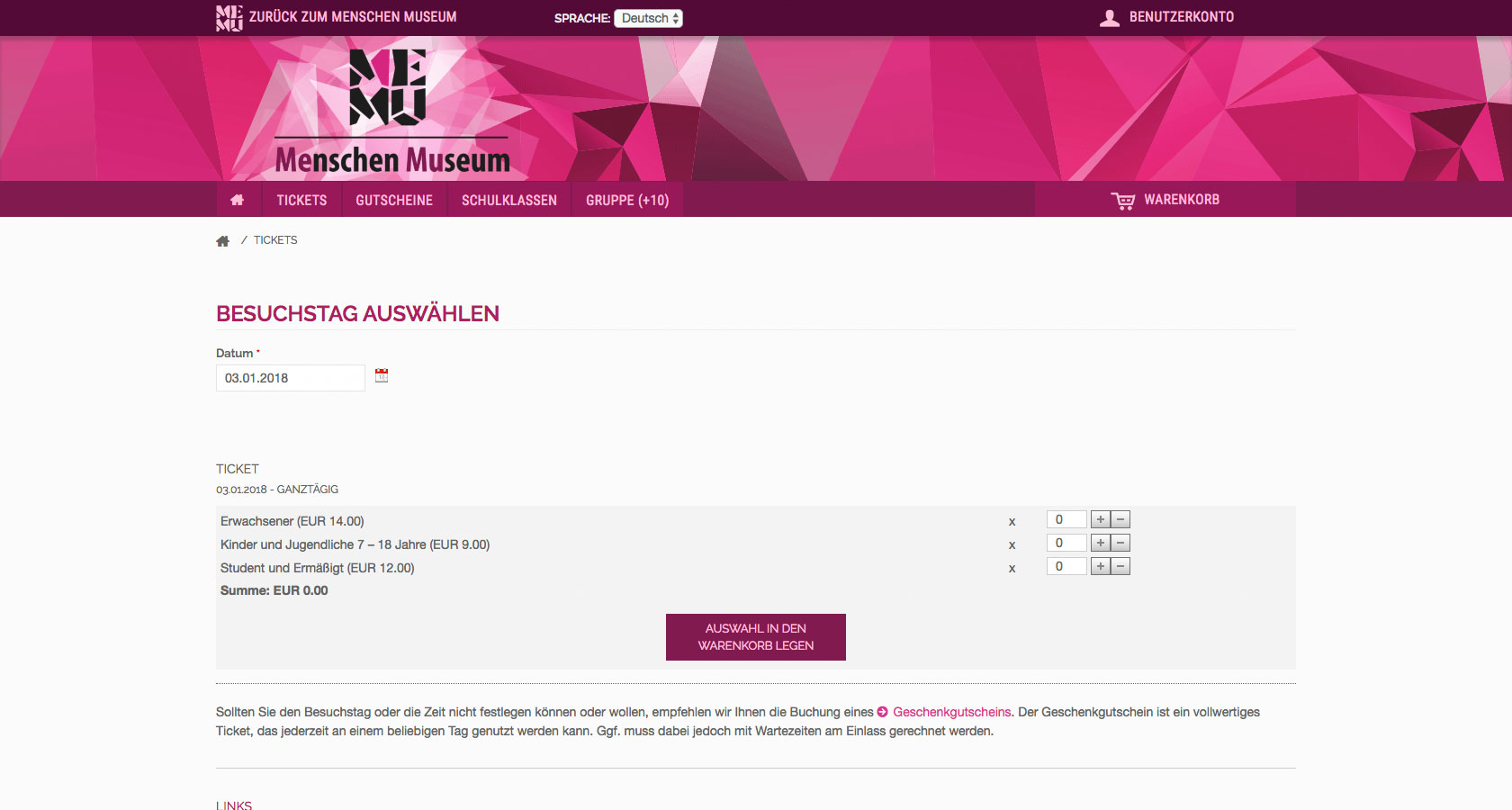 Screenshot einer Detailseite des Onlineshops Memu Berlin