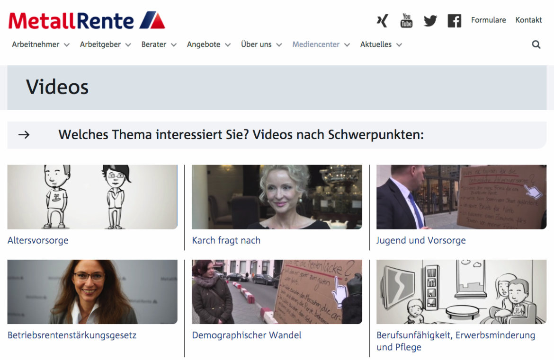 Screenshot der Übersichtsseite von Videos auf der Website der Metallrente