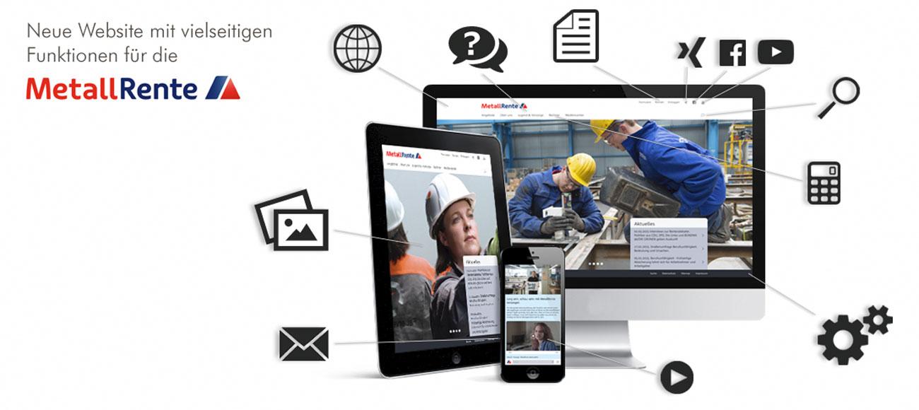 Bilder von Laptop, Smarthone und Tablet mit Abbildungen aus der Metallrente Website auf dem Bildschirm