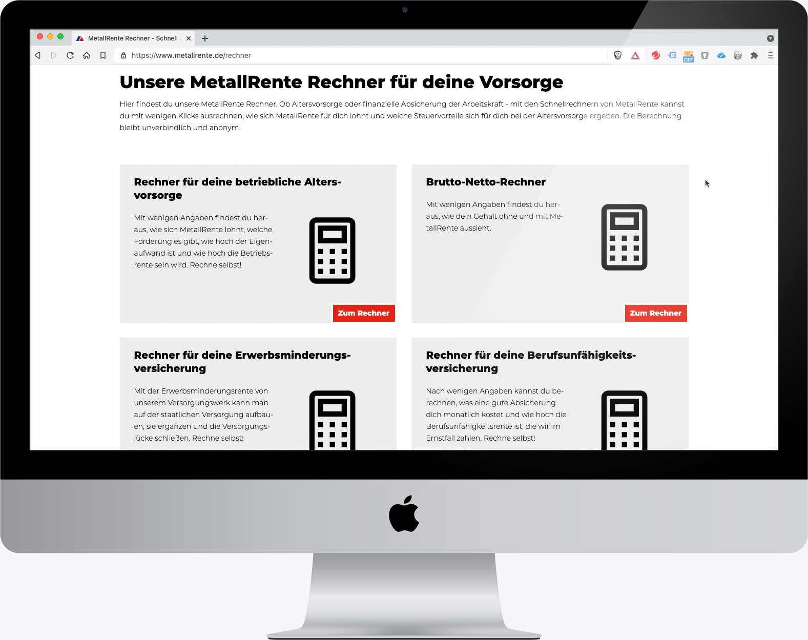 Verschiedene Beitragsrechner in der Website www.metallrente.de
