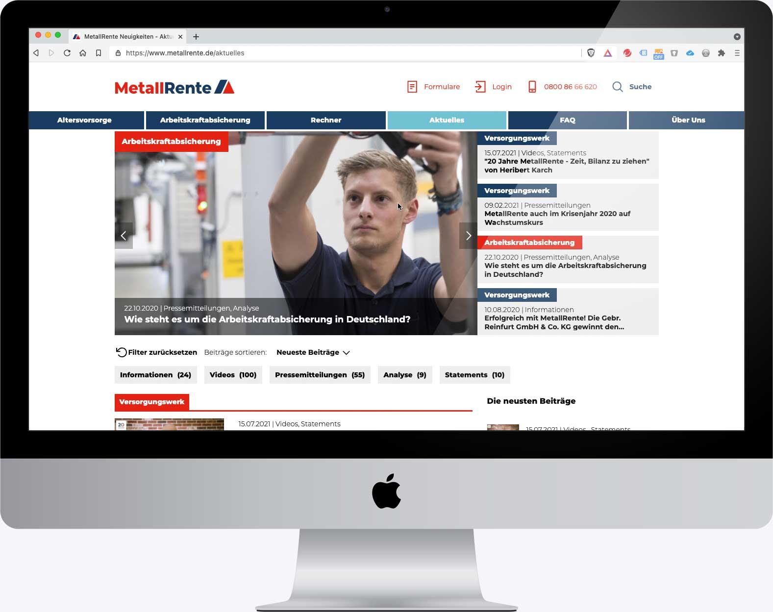 """Darstellung des Bereichs """"Aktuelles"""" in der Internetseite www.metallrente.de"""