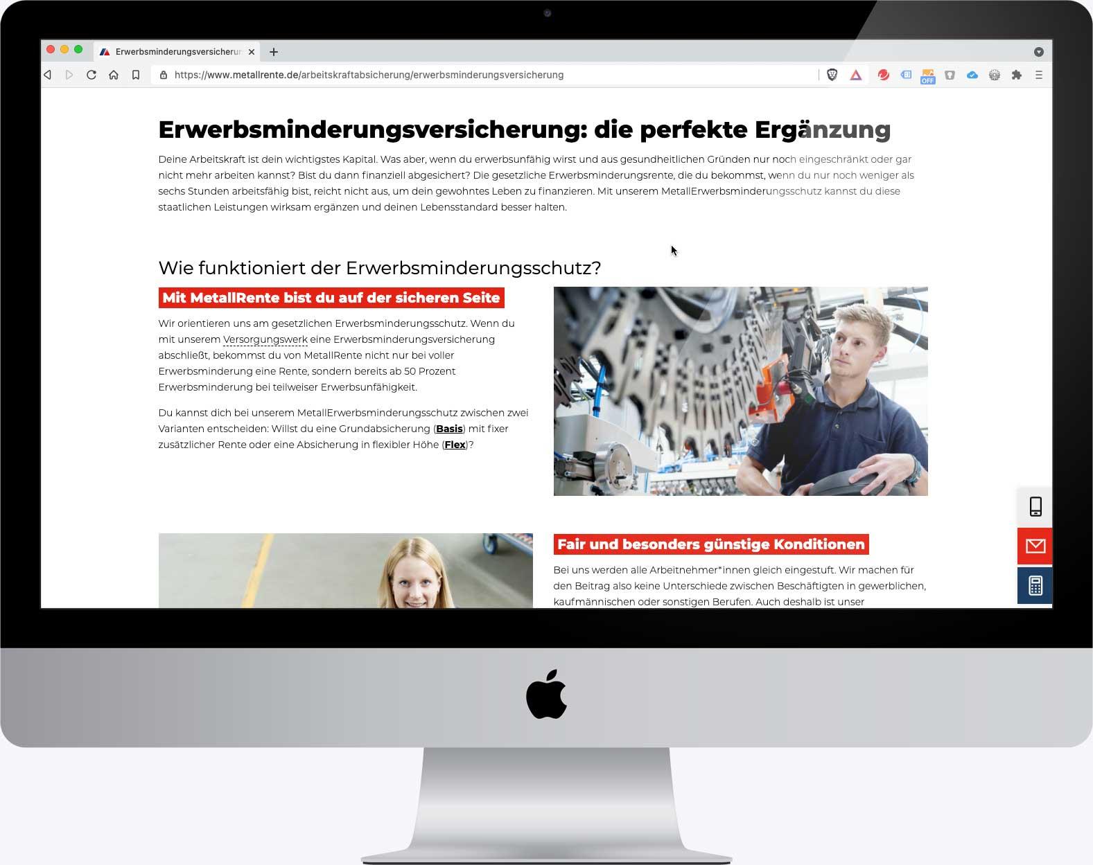 Themenseite im Internetauftritt www.metallrente.de