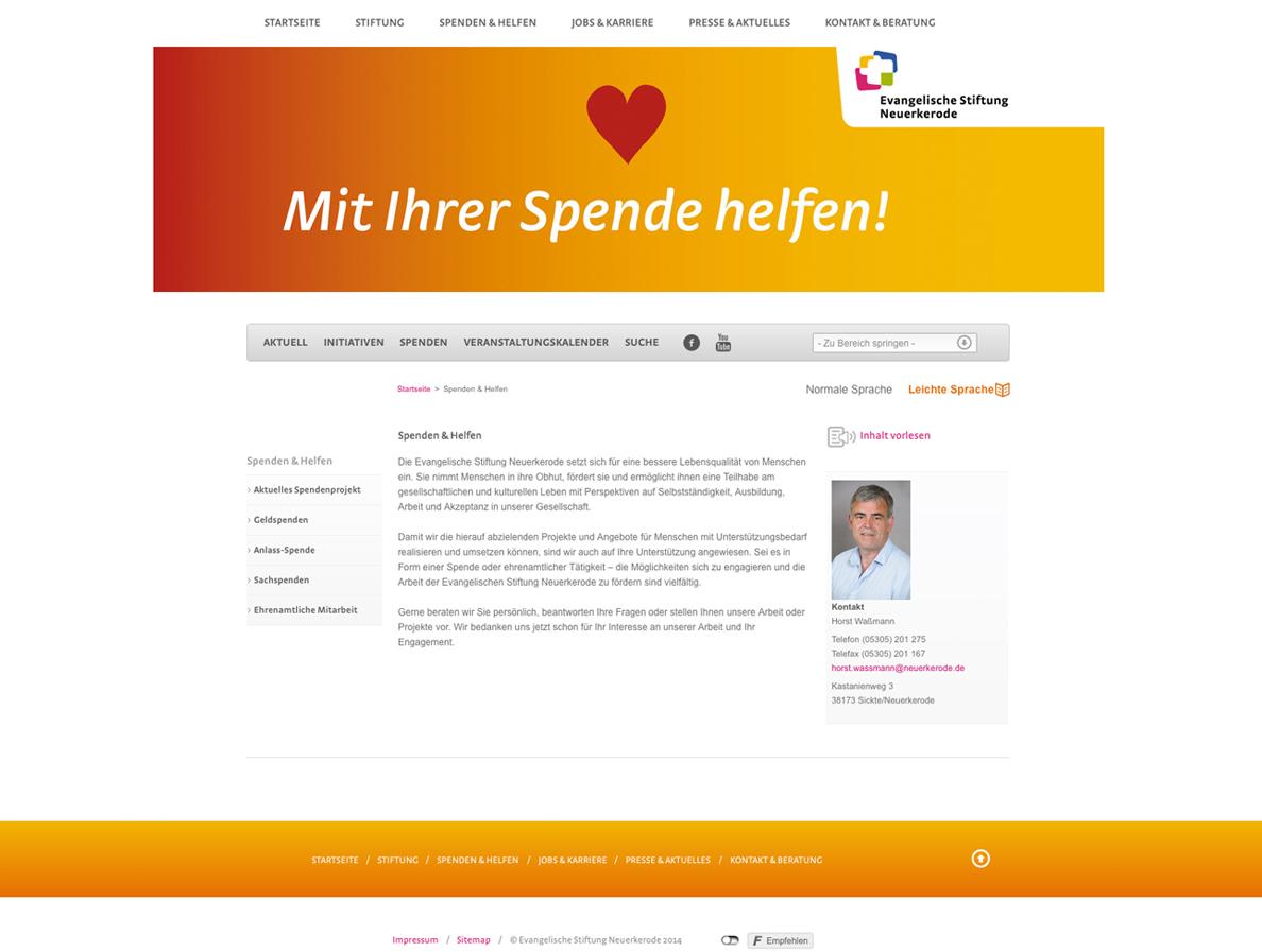 Screenshot einer Unterseite vom Internetauftritt der Evangelischen Stiftung Neuerkerode