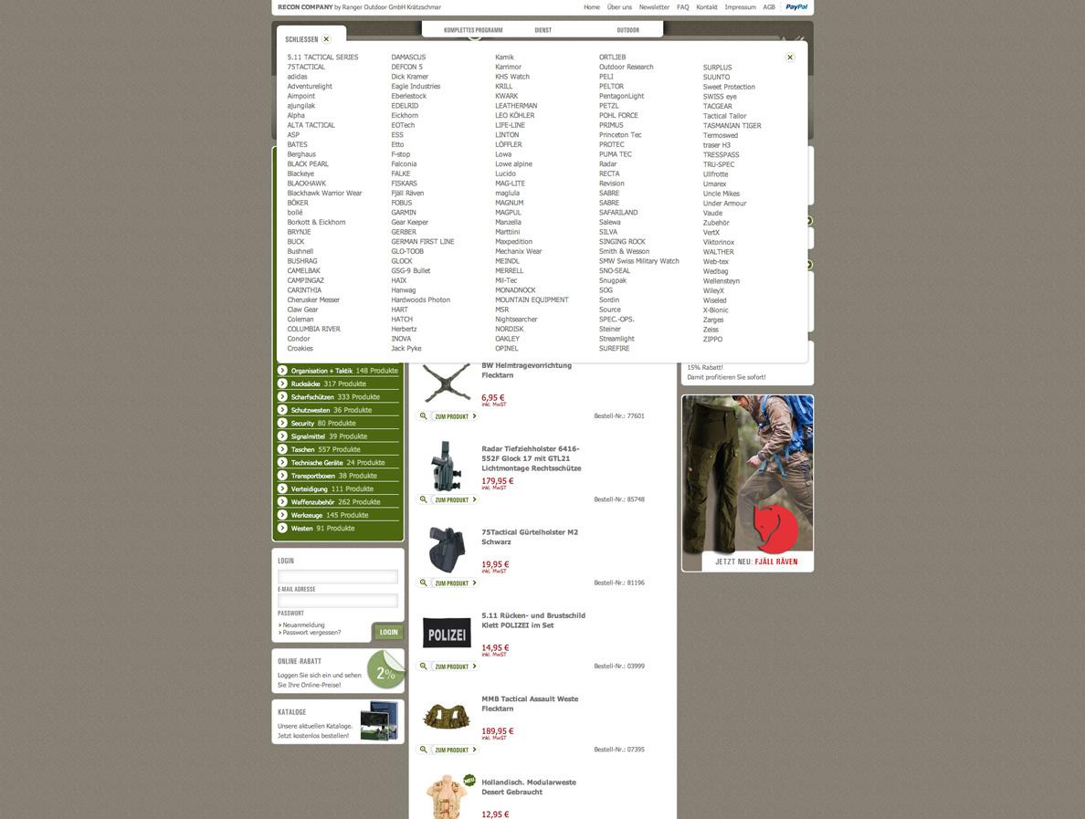 Screenshot der Menüführung des Onlineshops für die RECON Company