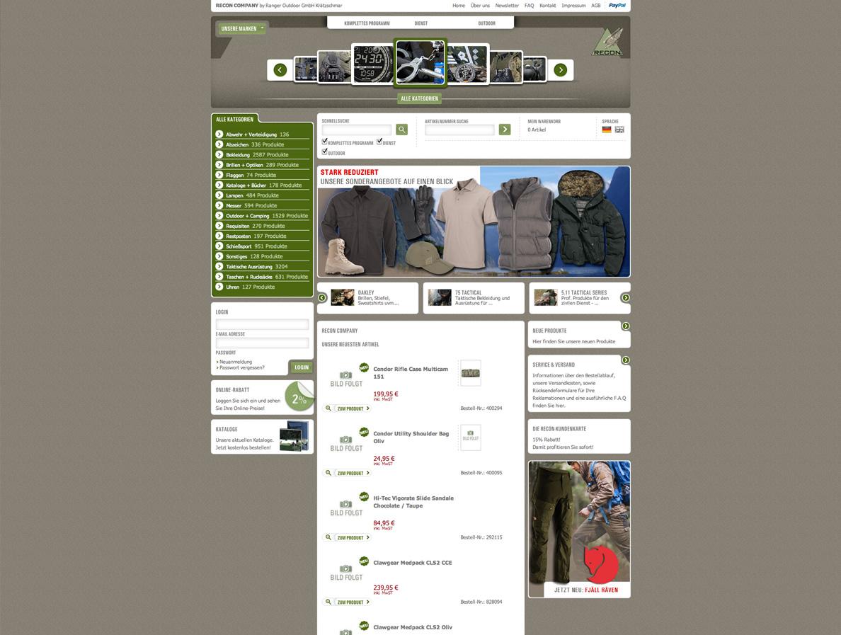 Screenshot einer Unterseite des Onlineshops für die RECON Company