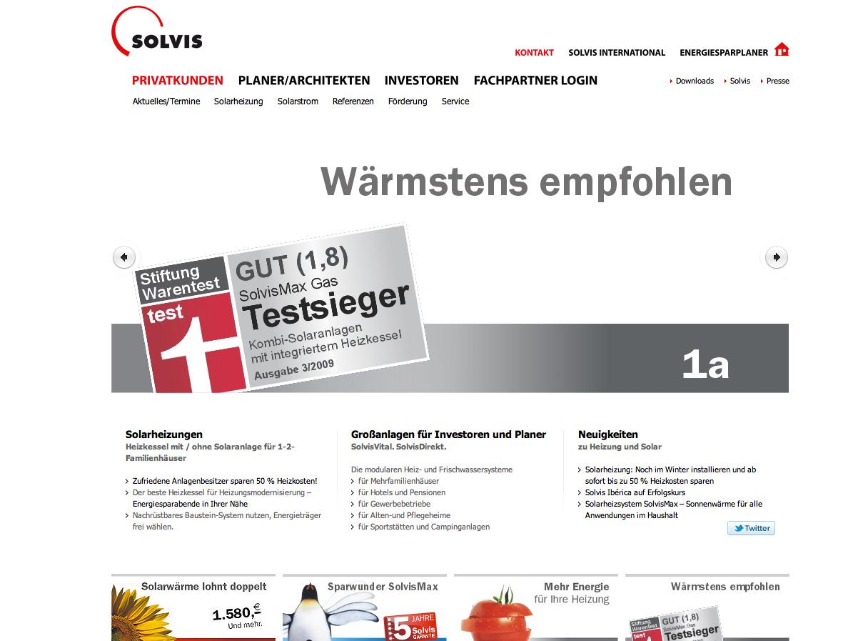 Screenshot von der Startseite der Solvis Portalseite
