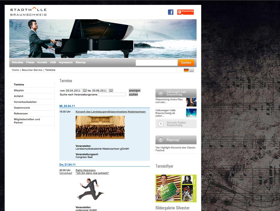 Screenshot einer Unterseite von der Homepage der Stadthalle Braunschweig