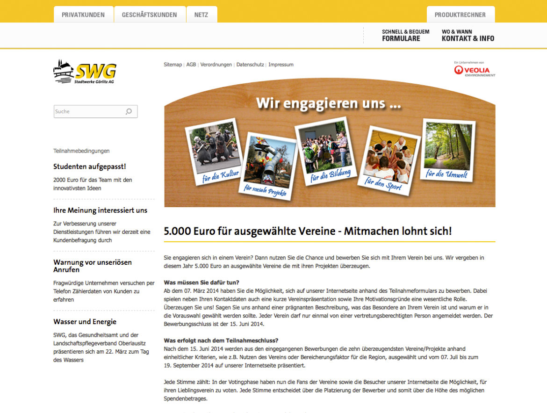 Screenshot der Infoseite für das Online-Voting der Stadtwerke Görlitz