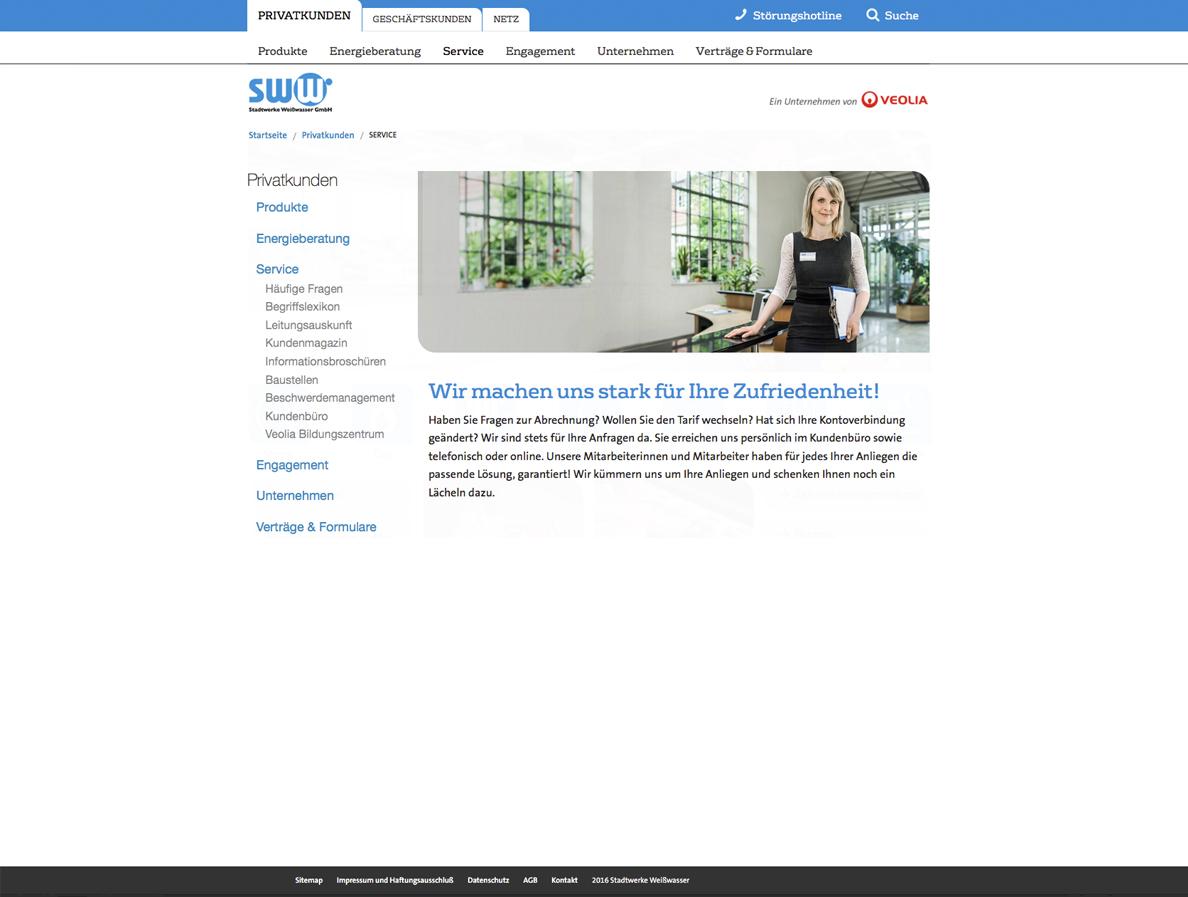 Screenshot einer Unterseite von der Stadtwerke Weisswasser Homepage