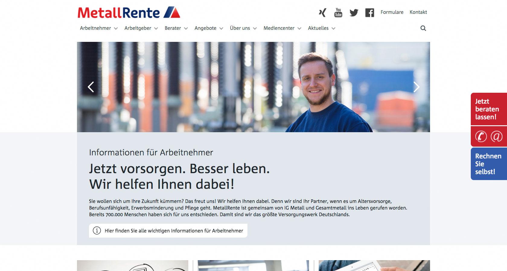 Screenshot der Startseite des Internetauftritts der Metallrente