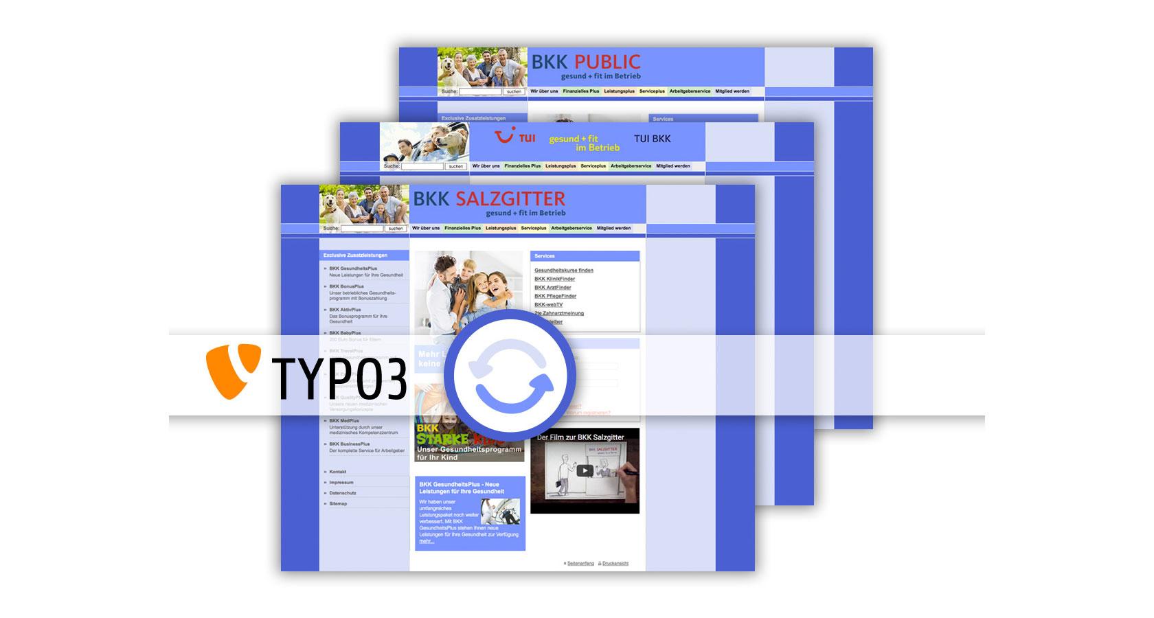 Überlagerte Screenshots der verschiedenen BKK Webseiten und ein Update Icon und TYPO3 Logo im Vordergrund