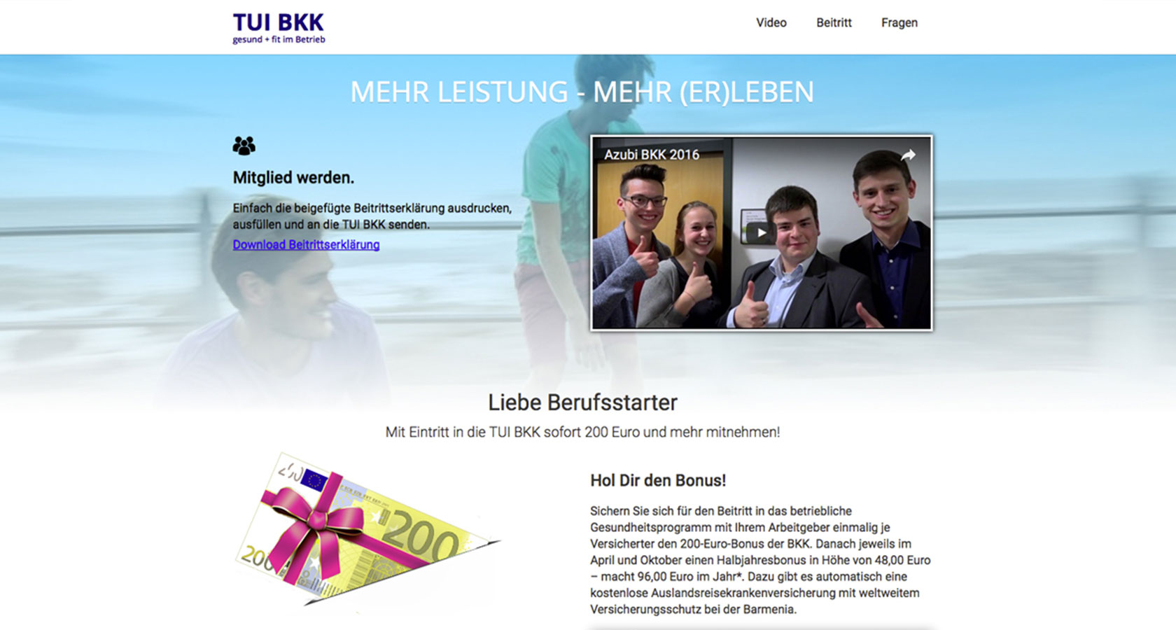 """Screenshot der """"Landingpage für Berufsstarter"""" von TUI BKK"""