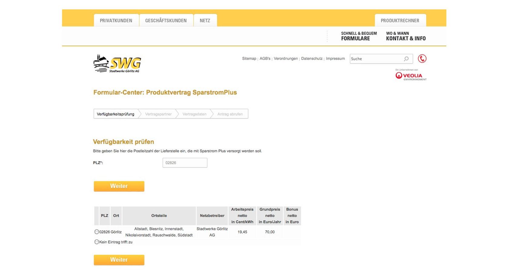 Screenshot vom Formularcenter für die Stadtwerke Görlitz