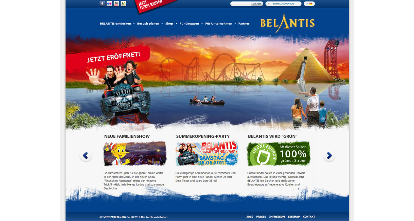 Screenshot der Belantis Internetpräsenz