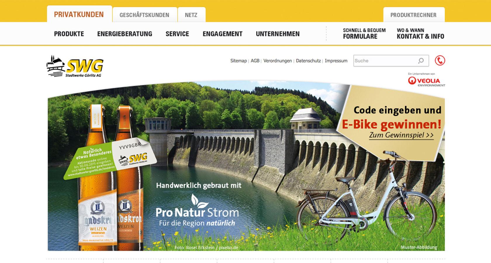 Screenshot vom Online-Gewinnspiel für die Stadtwerke Görlitz AG