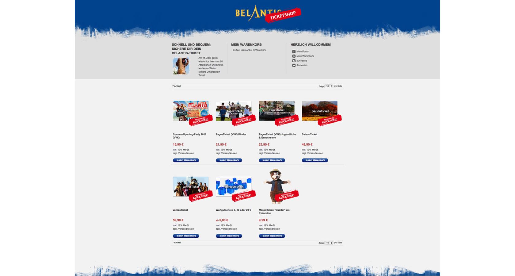 Screenshot vom Ticketshop des Freizeitpark Belantis