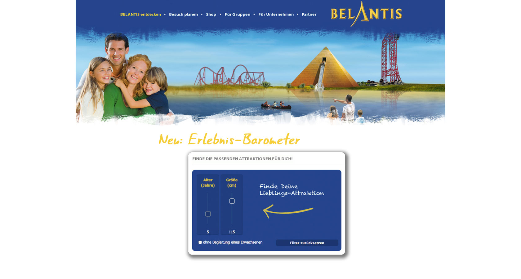 Screenshot vom Erlebnis-Barometer welches für den Freizeitpark Belantis realisiert wurde