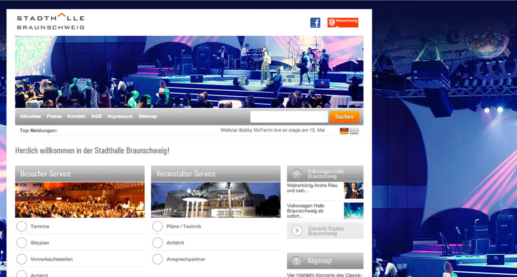 Screenshot der Startseite von der Homepage der Stadthalle Braunschweig
