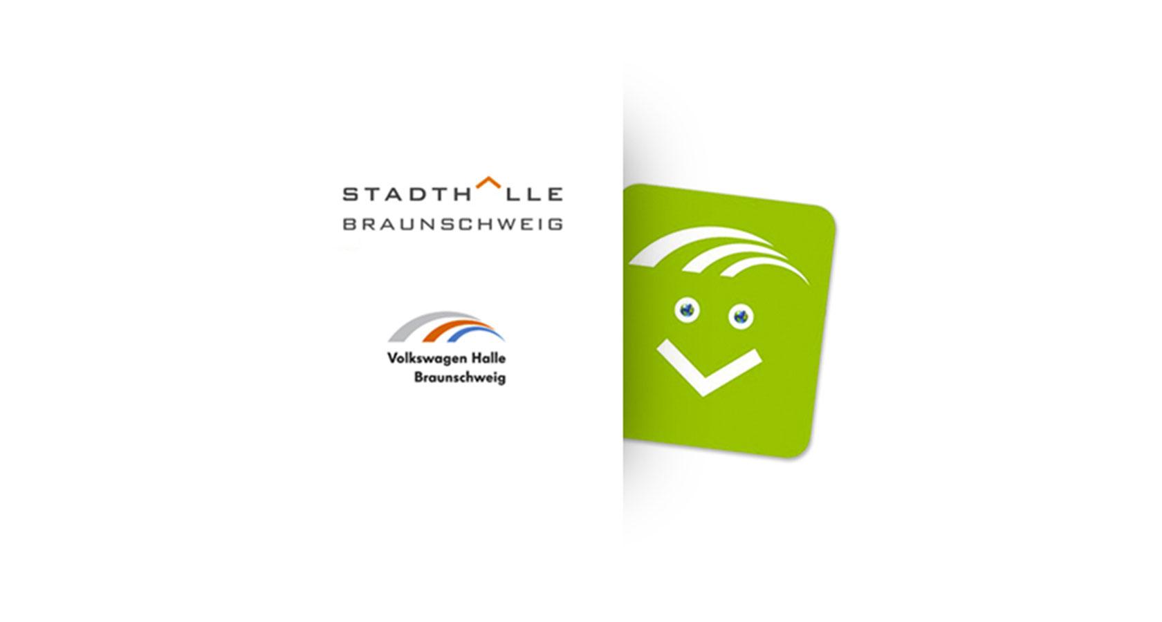 """Darstellung von Logos der Stadthalle und Volkswagen Halle Braunschweig und des Maskottchens """"Greeny"""""""