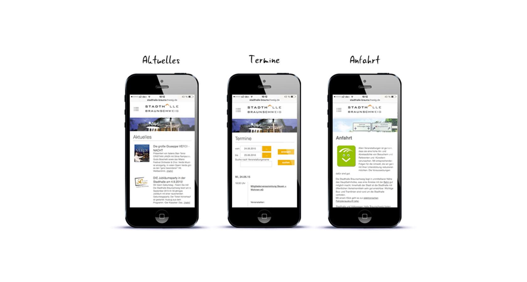 Darstellung von drei mobilen Seiten der Stadthalle Braunschweig auf dem iPhone