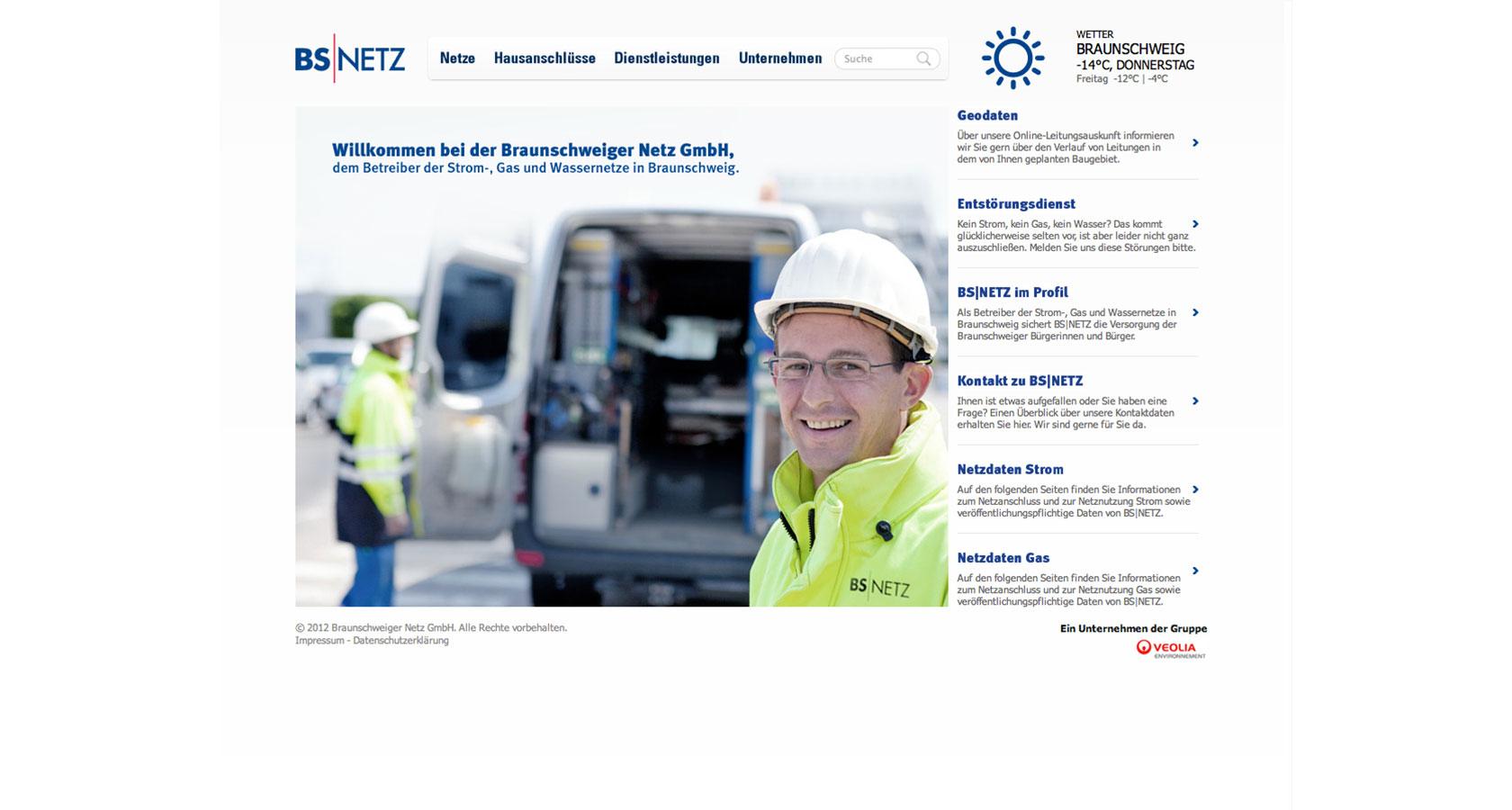 Screenshot der Startseite von der neuen BS|NETZ Website