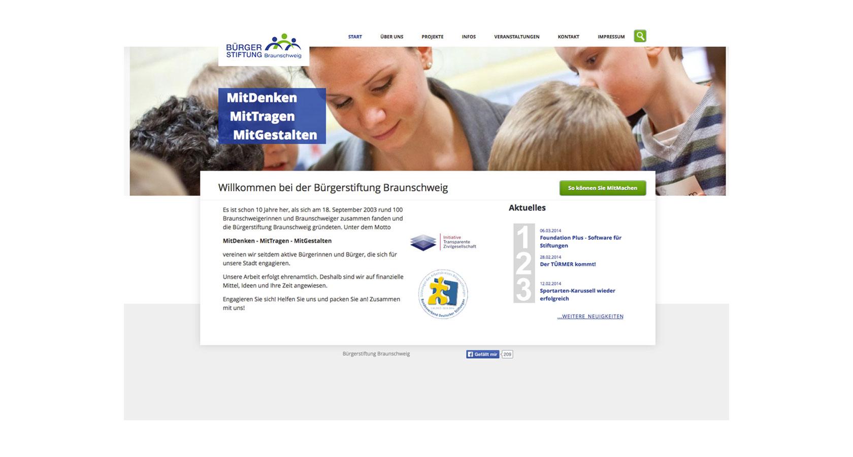 Screenshot der Startseite des Internetauftritts der Bürgerstiftung Braunschweig