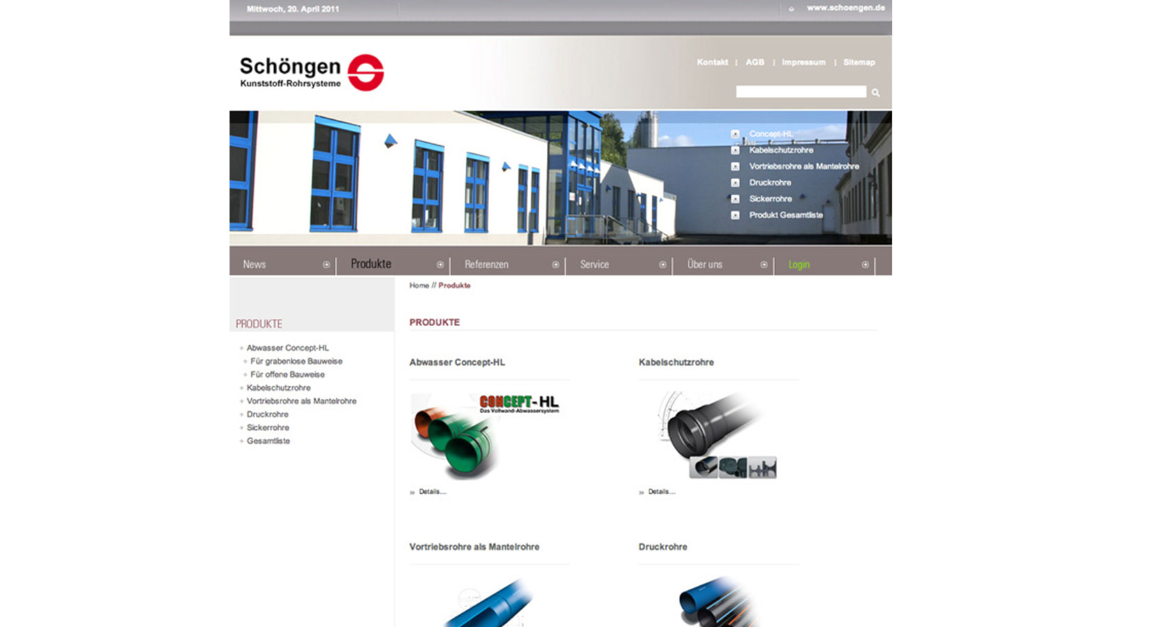 Screenshot von der Startseite der Karl Schöngen KG