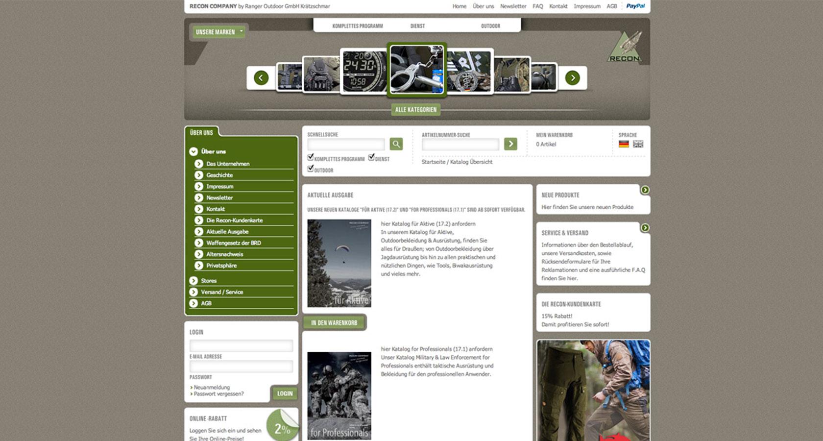 Screenshot der Startseite des Onlineshops für die RECON Company