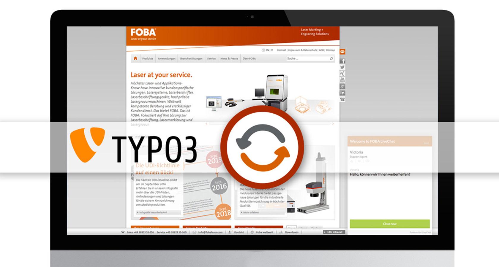 Bild eines iMac mit der Foba Homepage und ein Update Icon und TYPO3 Logo im Vordergrund