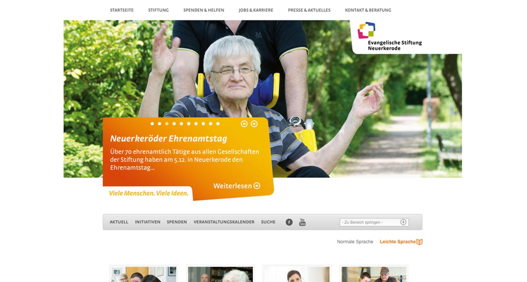 Screenshot der Startseite vom Internetauftritt der Evangelischen Stiftung Neuerkerode