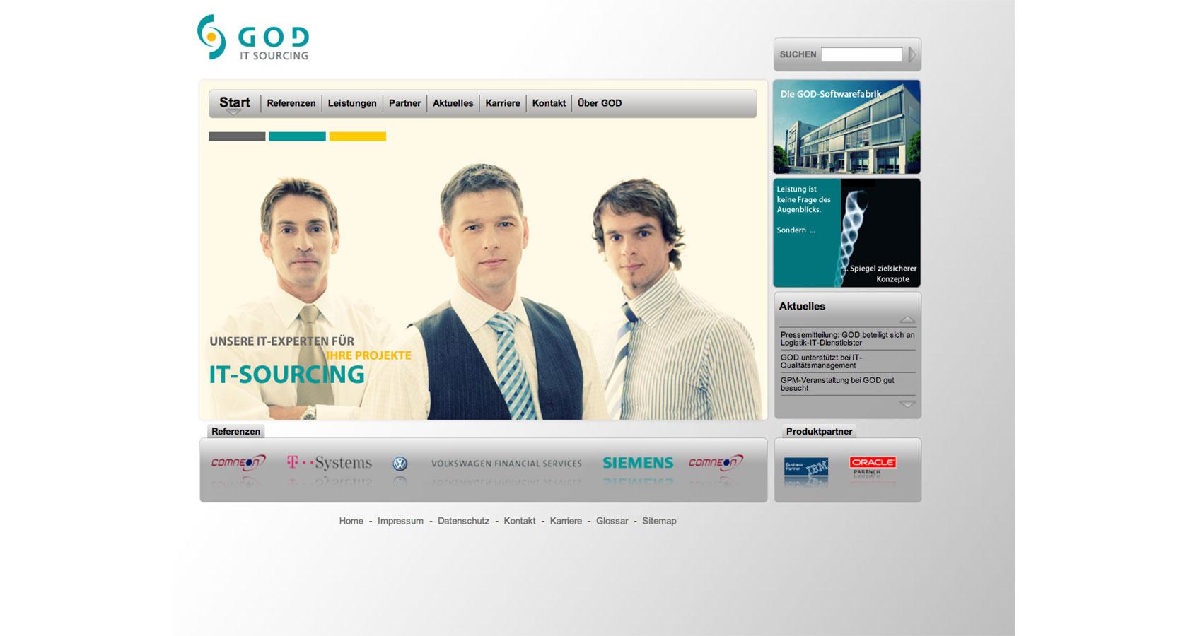 Screenshot der Startseite von der neuen GOD Internetpräsenz