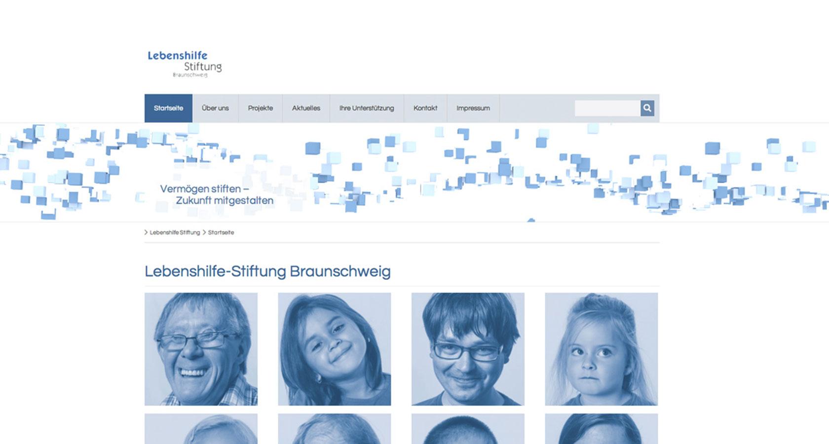 Screenshot vom Internetauftritt der Lebenshilfe-Stiftung Braunschweig