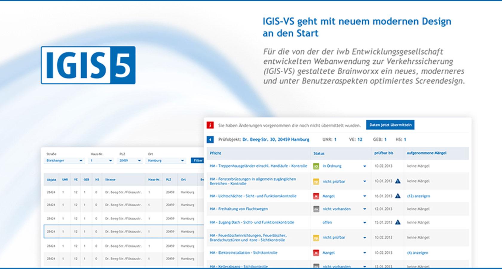 Screens der iwb Webanwendung zur Verkehrssicherung