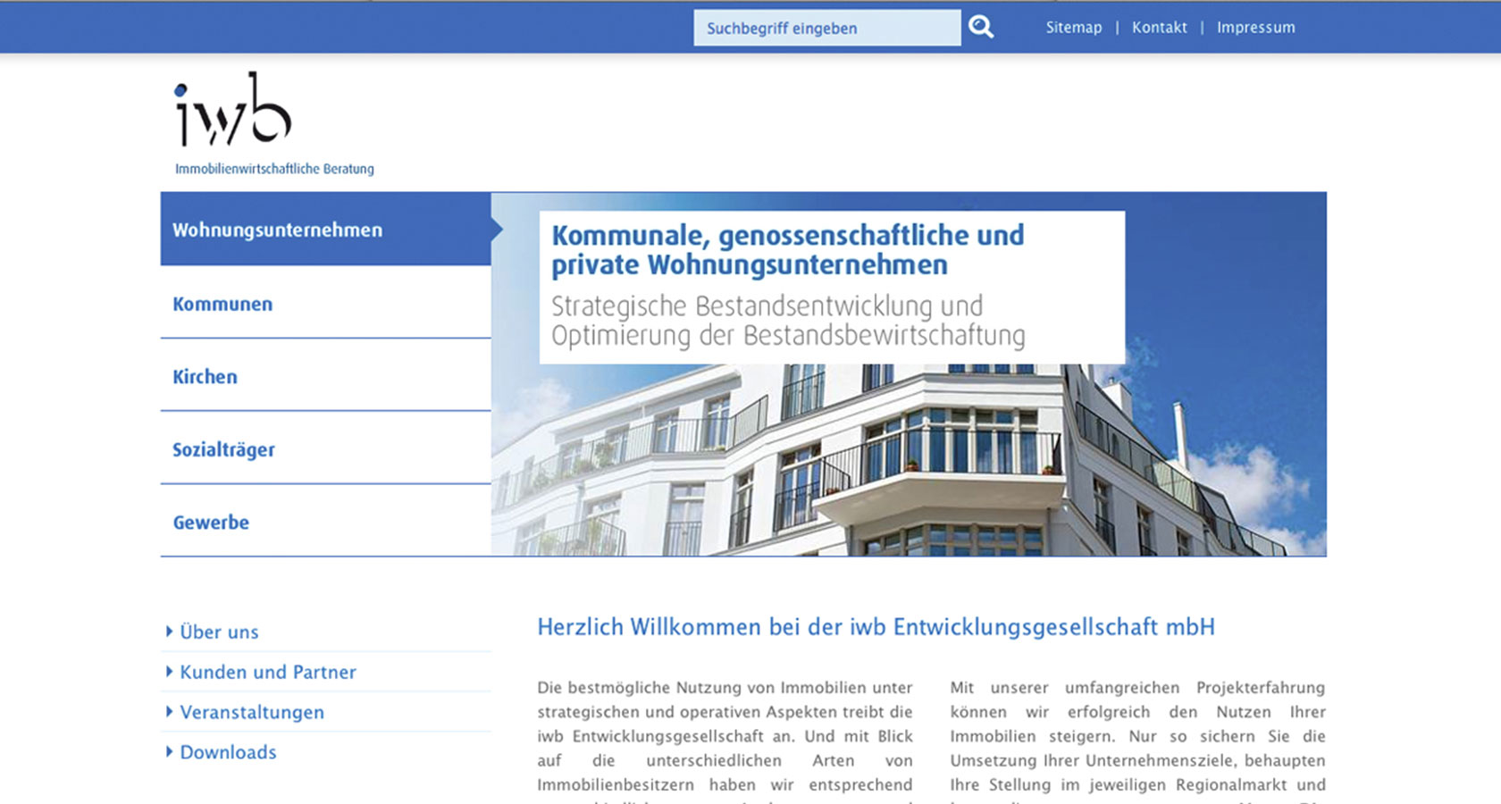 Screenshot der relaunchten iwb Unternehmens-Website