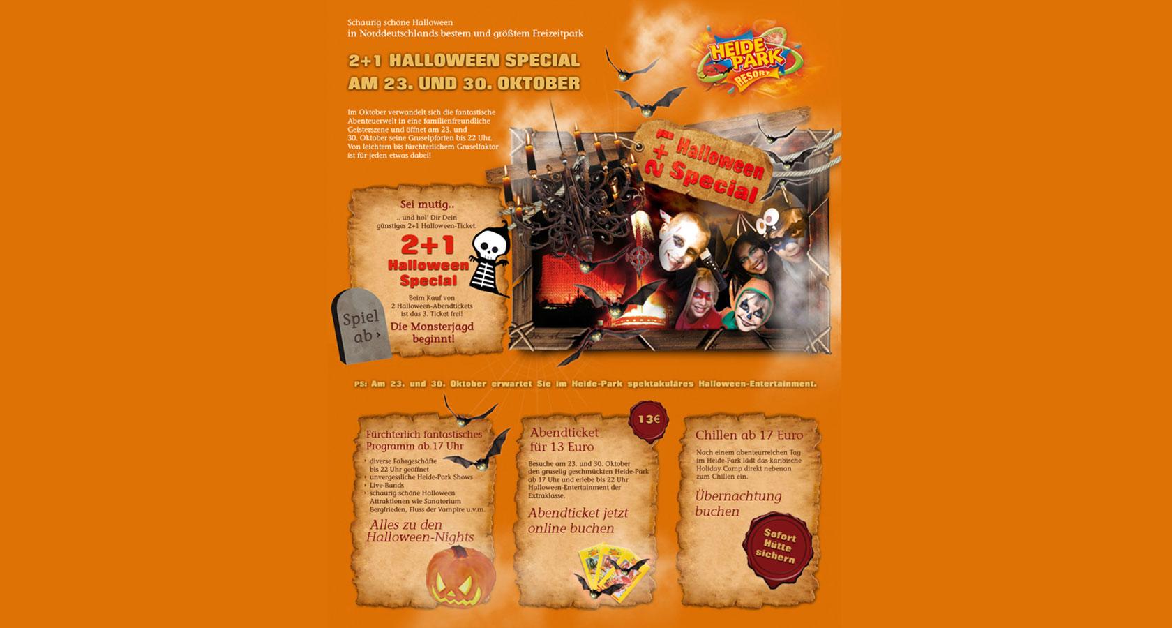 Screenshot vom Heide Park Newsletter fürs Halloween-Special