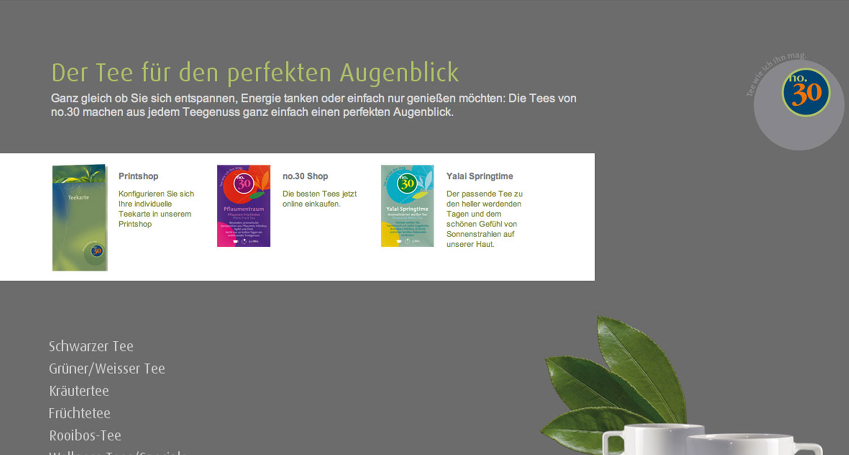 """Heimbs neue Internetseite für die Teesorte """"No. 30"""""""
