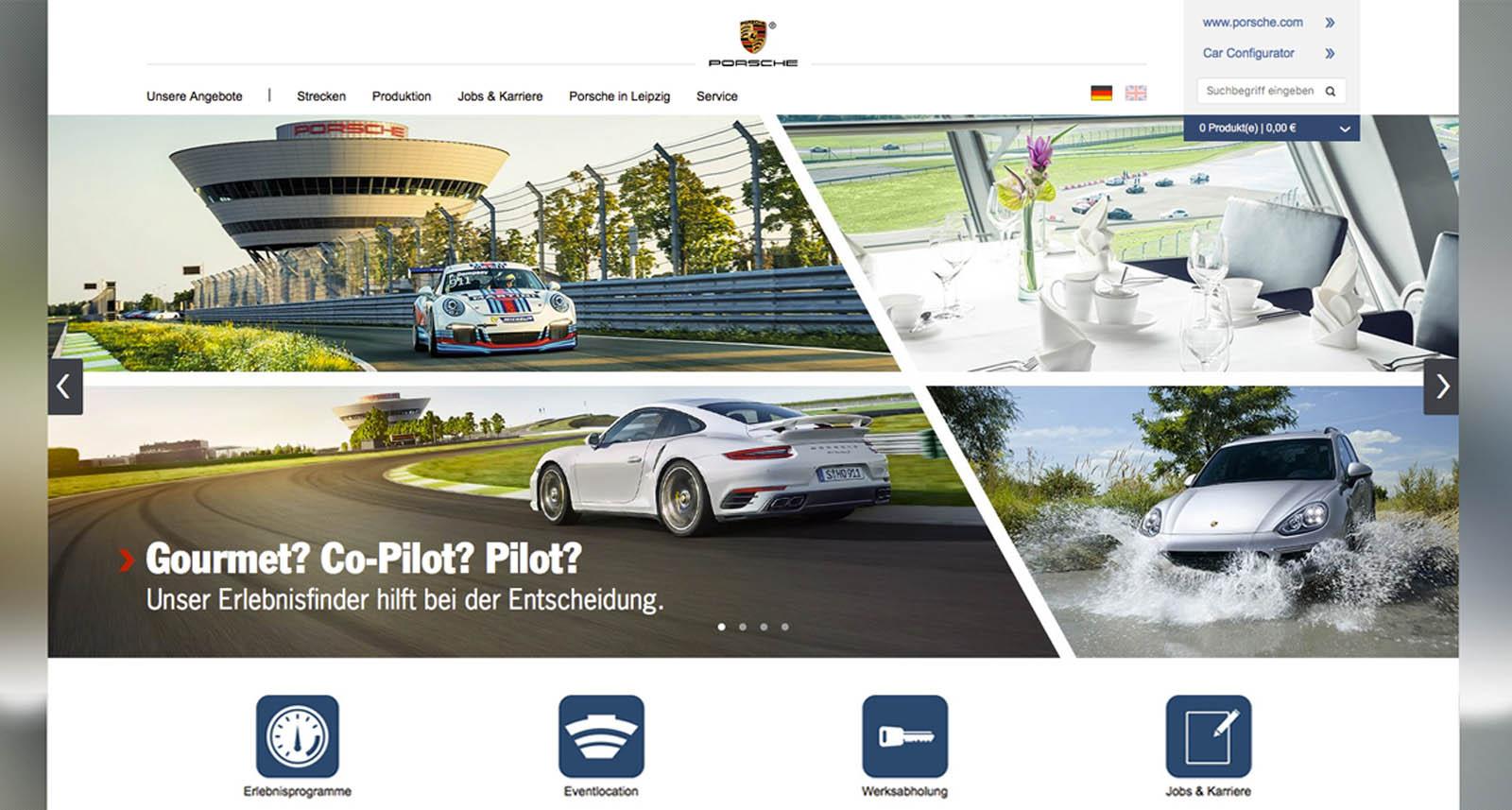 Screenshot der relaunchten Porsche Leipzig Homepage