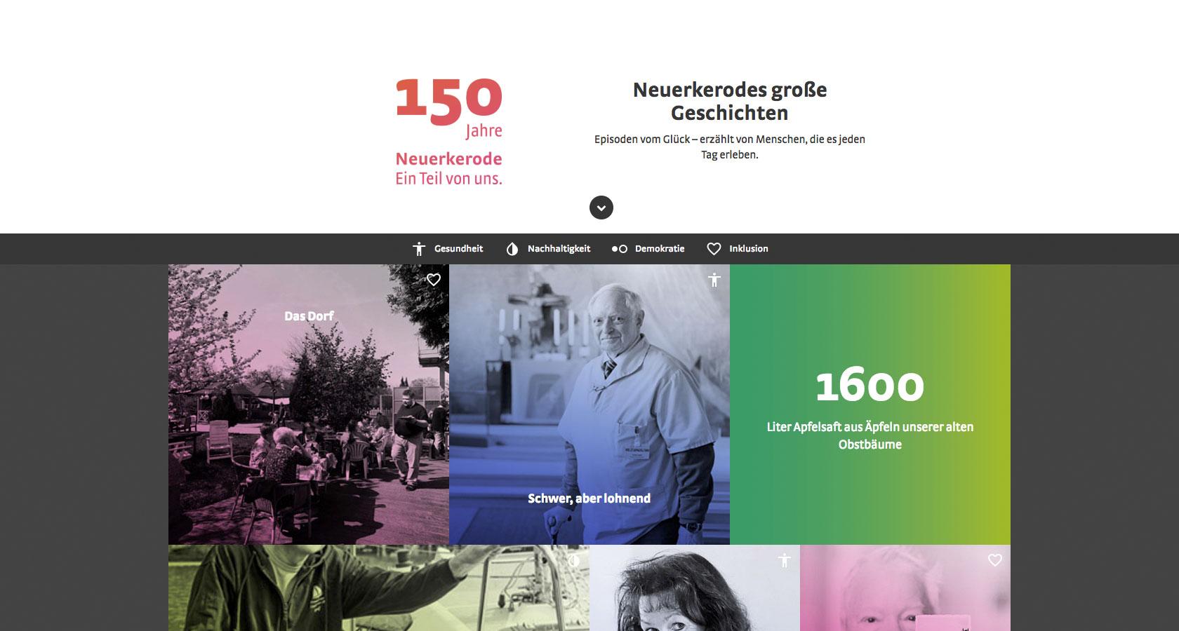 Screenshot der Startseite der Website 150-Jahre-Glück
