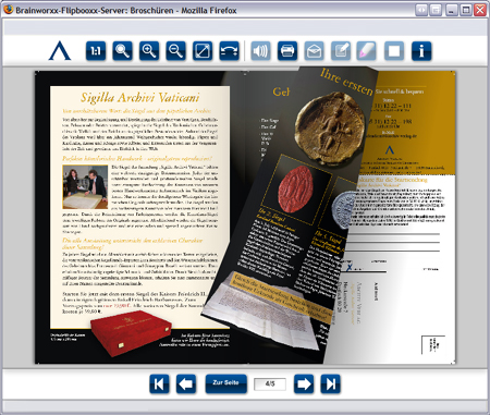"""Screenshot """"Blätterbare Werbeprospekte"""" Archiv Verlag"""