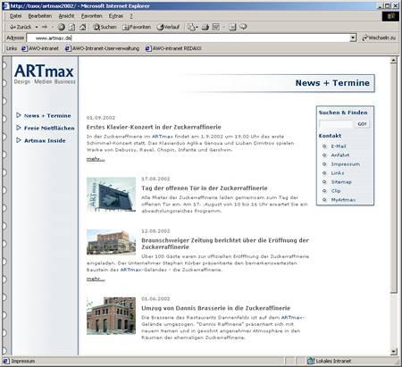 Screenshot ARTmax Relaunch