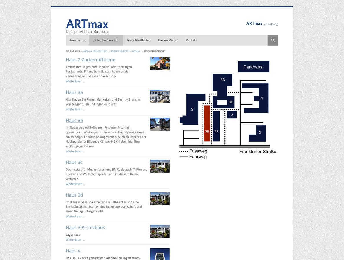 Screenshot 2 von der Startseite des Immobilienportals für die ARTmax Verwaltung