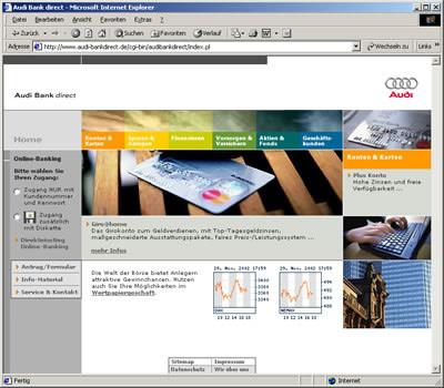 Screenshot Audibank Internetauftritt