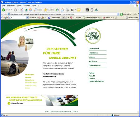 Screenshot AutoEuropa Bank Internetauftritt